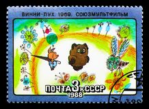 Winnie Pooh, Soviet Cartoon Filmsserie, circa 1988. MOSCOW, RUSSIA - MARCH 31, 2018: A stamp printed in USSR (Russia) shows Winnie Pooh, Soviet Cartoon Stock Photo