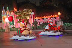 Winnie the Pooh and Tigger. ANAHEIM, CALIFORNIA - November 16, 2011 - Winnie the Pooh and Tiiger on sleds during the Christmas parade at Disneyland Royalty Free Stock Photos