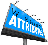 Winning Attributes Sign Billboard Successful Traits Qualities Stock Image