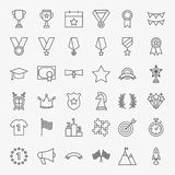Winning Award Line Icons Set. Vector Thin Outline Competition Symbols Stock Images
