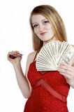 Winning is Better. Beautiful blonde with money and poker chips on white stock image