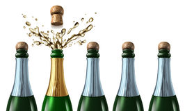 Winning Bid. And new contract success as a business project win after a proposal presentation for a company job with five champagne bottles with closed corks Stock Photo