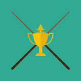 Winning billiards with cue concept of victory vector illustration. Royalty Free Stock Photos