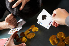 Winning on black jack game Royalty Free Stock Photos