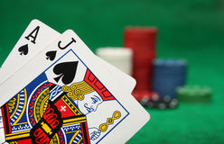 A winning blackjack hand. With gambling chips stock images