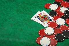 A winning blackjack hand Royalty Free Stock Image