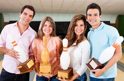 Winning a bowling trophy Royalty Free Stock Photo
