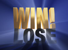 Winning!. Bright, gold WIN atop a dark gray LOSE on a deep blue background brilliantly backlit with light rays shining through royalty free illustration