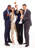 Winning business competition. Happy young business team winning a competition Stock Image