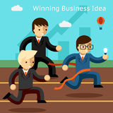 Winning business idea. Success in innovation. Running. Win leadership, leader and achievement, run businessman, vector illustration Royalty Free Stock Photography