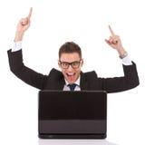 Winning business man at work Stock Photography