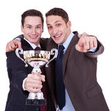 Winning Business Men Pointing To You Royalty Free Stock Photos