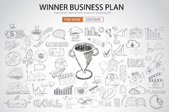 Winning Business Plan  Concept with Doodle design style. Finding solution, brainstorming, creative thinking. Modern style illustration for web banners Royalty Free Stock Images