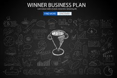 Winning Business Plan  Concept with Doodle design style. Finding solution, brainstorming, creative thinking. Modern style illustration for web banners Stock Photos