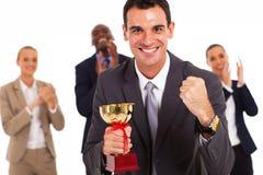 Winning business team. Smart business team winning a competition stock image