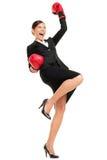 Winning business woman celebrating royalty free stock image