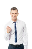 Winning businessman and fists clenched Royalty Free Stock Photography