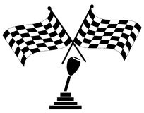 Winning car race. Stick shift with two checkered flags - winning car race - vector Stock Photography