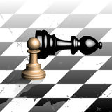 Winning chess pawn. Isometric view of a chess board, pawn and bishop Royalty Free Stock Image