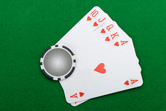 Winning combination in a poker Royal Flush Stock Image