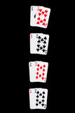 Winning Combinations on black. Winning Combinations in Blackjack, isolated on black, with clipping path Royalty Free Stock Image