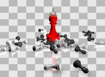 Winning concept with chess pawns, red chess queen and checkerboard Stock Image