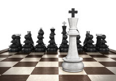 Winning concept White king stands on a chessboard foreground wit. H black chess in the background Royalty Free Stock Photos