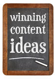 Winning content ideas - blackboard sign Royalty Free Stock Images