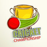 Winning cup with ball for Cricket. Royalty Free Stock Image