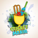 Winning Cup with Bat and Ball for Cricket Mania. Stock Images