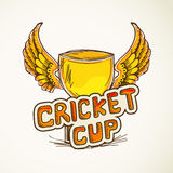 Winning cup for Cricket sports concept. Golden winning cup with wings for Cricket royalty free illustration