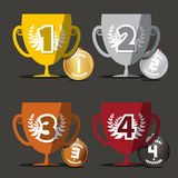 Winning Cups. Medals Set. Royalty Free Stock Image