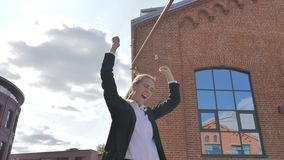 Winning Excited Businesswoman Celebrating Success of Results stock video footage