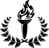 The winning fire. Black silhouette of laurel  and torch Stock Images