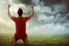 Winning football player Royalty Free Stock Photos