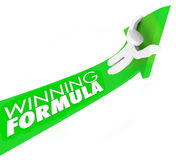 Winning Formula Man on Arrow Rising Upward Winning Competition Royalty Free Stock Photo