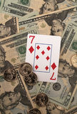 Winning Gamble on Seven of diamonds Royalty Free Stock Images
