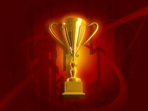 Winning Gold Trophy. 3D render royalty free illustration