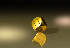 Always winning golden dice in balance Stock Photo