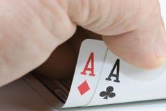 Winning Hand. Poker Winning Hand Pair of aces winning hand Stock Photo