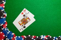 Winning hand in blackjack royalty free stock photos