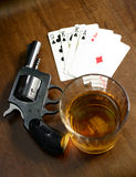 Winning hand and a deadly poker game Stock Images