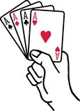 Winning hand with four aces playing cards. Vector vector illustration