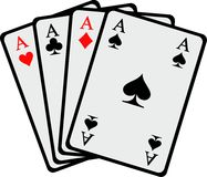 Winning hand Four aces playing cards. Vector royalty free illustration