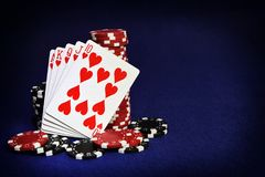 Winning hands of cards. gambling success and room in frame for t Stock Image
