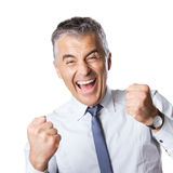 Winning happy businessman Stock Photo