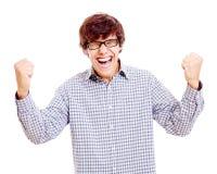 Winning happy guy Stock Image