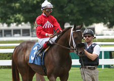 Winning Her First Race. SARATOGA SPRINGS, NY - JUL 18: By The Moon and jockey Jose Ortiz prepare to enter the gate before the filly's first win, at Saratoga Race Stock Photography