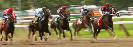 Winning His First Race. SARATOGA SPRINGS, NY - JUL 19: Jose Ortiz and Waco (lead horse) storm down the track en route to a victory in a maiden race at historic royalty free stock photo