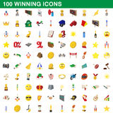 100 winning icons set, cartoon style. 100 winning icons set in cartoon style for any design vector illustration Stock Photo